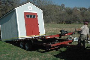 Shed loading on trailer